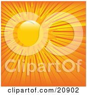 Clipart Illustration Of A Hot Sun Beaming In The Sky With Orange And Yellow Rays Of Sunshine