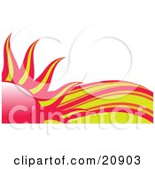 Clipart Illustration Of Abstract Red And Yellow Heat Waves Behind A Red And Yellow Sun