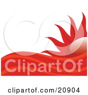 Clipart Illustration Of Abstract Red And Orange Heat Waves In Front Of A Hot Red Sun