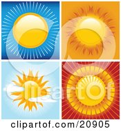 Clipart Illustration Of Four Scenes Of Bright Hot Suns In Blue Orange Red And Partially Cloudy Skies