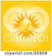 Clipart Illustration Of A Beaming Orange Sun With Rays Of Light In A Yellow Sky