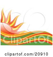 Clipart Illustration Of Abstract Red Orange Yellow And Green Heat Waves In Front Of A Red And Yellow Sun