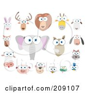 Royalty Free RF Clipart Illustration Of A Digital Collage Of Big Eyed Animal Faces by Qiun