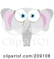 Royalty Free RF Clipart Illustration Of A Big Eyed Elephant Face
