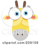 Royalty Free RF Clipart Illustration Of A Big Eyed Giraffe Face by Qiun