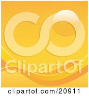 Clipart Illustration Of An Orange Sunny Background With Waves And The Sun In The Upper Right Hand Corner