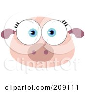 Royalty Free RF Clipart Illustration Of A Big Eyed Pig Face by Qiun