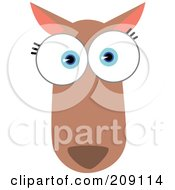 Royalty Free RF Clipart Illustration Of A Big Eyed Kangaroo Or Horse Face by Qiun