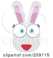 Royalty Free RF Clipart Illustration Of A Big Eyed Rabbit Face by Qiun