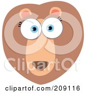 Royalty Free RF Clipart Illustration Of A Big Eyed Lion Face by Qiun