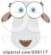 Royalty Free RF Clipart Illustration Of A Big Eyed Sheep Face by Qiun