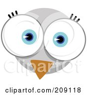 Royalty Free RF Clipart Illustration Of A Big Eyed Bird Face by Qiun