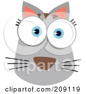 Royalty Free RF Clipart Illustration Of A Big Eyed Cat Face