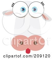 Royalty Free RF Clipart Illustration Of A Big Eyed Cow Face by Qiun