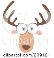 Royalty Free RF Clipart Illustration Of A Big Eyed Deer Face