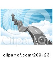 Royalty Free RF Clipart Illustration Of A Bumpy Roadway And Arrow Leading Above The Clouds To Heaven by Qiun #COLLC209123-0141