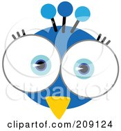 Royalty Free RF Clipart Illustration Of A Big Eyed Peacock Face by Qiun #COLLC209124-0141