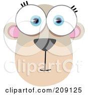 Royalty Free RF Clipart Illustration Of A Big Eyed Bear Monkey Face by Qiun