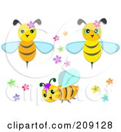 Royalty Free RF Clipart Illustration Of A Digital Collage Of Cute Bees With Flowers