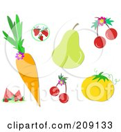 Royalty Free RF Clipart Illustration Of A Digital Collage Of Healthy Fruits by bpearth