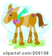 Royalty Free RF Clipart Illustration Of A Pony Wearing A Heart Necklace by bpearth