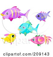 Royalty Free RF Clipart Illustration Of A Digital Collage Of Tropical Fish by bpearth