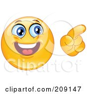Royalty Free RF Clipart Illustration Of A Yellow Smiley Face Pointing
