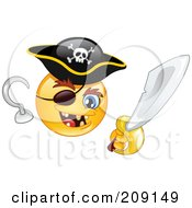 Royalty Free RF Clipart Illustration Of A Yellow Smiley Face Pirate With A Hook Hand Sword And Eye Patch