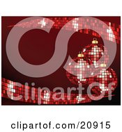 Clipart Illustration Of Three Red Disco Mirror Ball Christmas Ornaments Hanging Over A Red Background