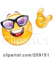 Royalty Free RF Clipart Illustration Of A Yellow Smiley Face Wearing Shades And Gesturing The Hang Loos Sign