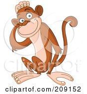 Royalty Free RF Clipart Illustration Of A Cute Monkey Touching His Head by yayayoyo