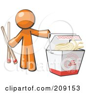 Orange Man Design Mascot Holding Chopsticks By A Chinese Takeout Container