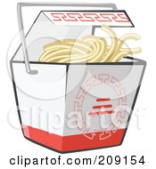 Royalty Free RF Clipart Illustration Of Noodles In A Chinese Takeout Container by Leo Blanchette