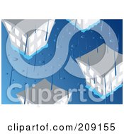 Royalty Free RF Clipart Illustration Of Rain Pouring Down And Flooding A City by mayawizard101