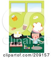 Royalty Free RF Clipart Illustration Of A Little Chef Girl Frying Eggs In A Kitchen by mayawizard101