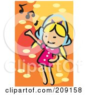 Little Blond Girl Dancing And Listening To Music