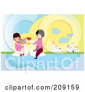 Royalty Free RF Clipart Illustration Of A Boy And Girl Riding On Swans