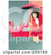 Girl With An Umbrella Standing In A Flooded City