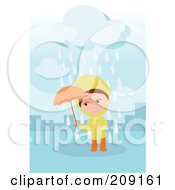 Royalty Free RF Clipart Illustration Of A Man Standing In A Puddle On A Rainy Day by mayawizard101