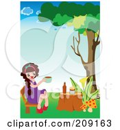 Girl Having Tea Time Outside On A Tree Stump