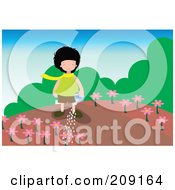 Royalty Free RF Clipart Illustration Of A Girl Watering Pink Flowers In A Garden