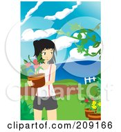 Royalty Free RF Clipart Illustration Of A Young Woman Carrying A Potted Plant In A Garden