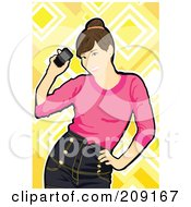 Royalty Free RF Clipart Illustration Of A Happy Woman Bending Sideways At Her Hip And Holding Her Cell Phone by mayawizard101