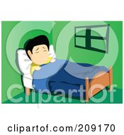 Royalty Free RF Clipart Illustration Of A Sick Asian Man Resting In Bed With A Thermometer In His Mouth