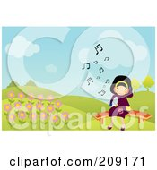Royalty Free RF Clipart Illustration Of A Little Girl Listening To Music By Flowers In A Park by mayawizard101