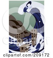 Royalty Free RF Clipart Illustration Of A Tsunami Wave Towering Over City Buildings by mayawizard101