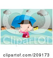 Royalty Free RF Clipart Illustration Of A Man In A Flood On A Stormy Day