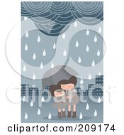 Royalty Free RF Clipart Illustration Of Two Girls Under An Umbrella In A Spring Shower by mayawizard101