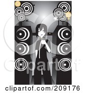 Royalty Free RF Clipart Illustration Of An Emo Girl Singing Karaoke By Large Speakers