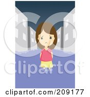 Royalty Free RF Clipart Illustration Of A Sad Girl Wading In A Flooded City by mayawizard101
